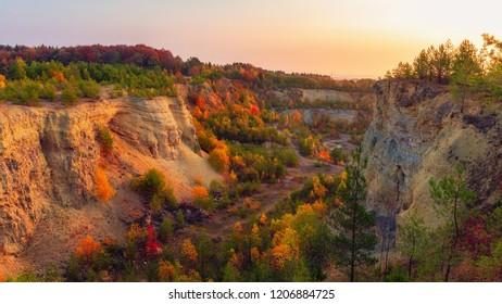 Golden October in Oberfranken, Germany. Enchanted Sunrise in Fall Bavaria