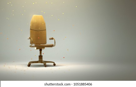 Golden Office Chair with Confetti  (3D Rendering)