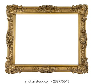 golden ornamental decorative frame isolated on white