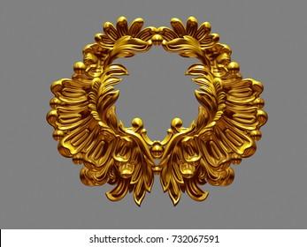 golden ornamental Emblem, 3d-Illustration