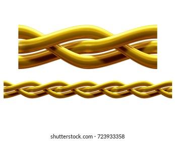 "golden, ornamental segment, ""braided"", straight version for frieze, frame or border. 3d illustration, separated on white"