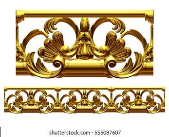 """golden, ornamental segment, """"break"""", straight version for frieze, surface or border. 3d illustration"""