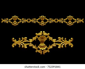 "golden, ornamental segment, ""bunch"", straight version for frieze, frame or border. 3d illustration, separated on black"