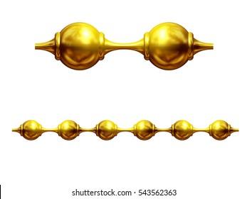 "golden, ornamental segment, ""chain"", straight version for frieze, surface or border. 3d illustration"