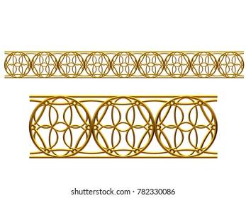 "golden, ornamental segment, ""circles"", straight version for frieze, frame or border. 3d illustration, separated on white"