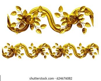 "golden, ornamental segment, ""cloth"", straight version for frieze, frame or border. 3d illustration, separated on white"