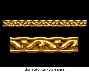 "golden, ornamental segment, ""dough"", straight version for frieze, frame or border. 3d illustration, separated on black"