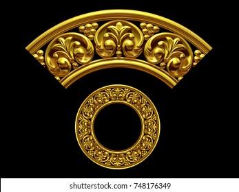 "golden ornamental segment, ""final"", round version for ninety degree angle corners or frames. 3D illustration, separated on black"