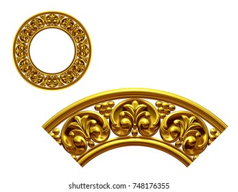 """golden ornamental segment, """"final"""", round version for ninety degree angle corners or frames. 3D illustration, separated on white"""