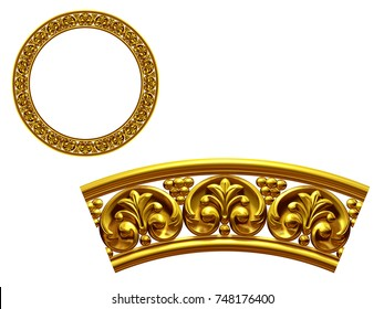 """golden ornamental segment, """"final"""", round version for fourty five degree angle corners or frames. 3D illustration, separated on white"""