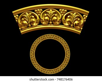 """golden ornamental segment, """"final"""", round version for fourty five degree angle corners or frames. 3D illustration, separated on black"""