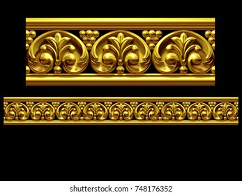 "golden, ornamental segment, ""final"", straight version for frieze, frame or border. 3d illustration, separated on black"