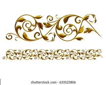 "golden, ornamental segment, ""foliage"", straight version for frieze, frame or border. 3d illustration, separated on white"