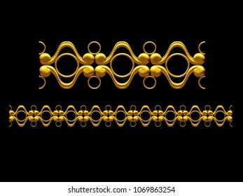 "golden, ornamental segment, ""fourfold"", straight version for frieze, frame or border. 3d illustration, separated on black"