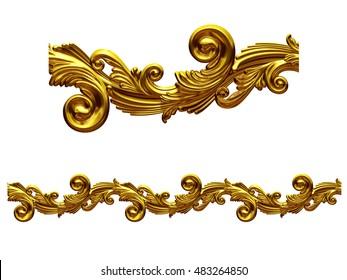golden, ornamental segment for frieze, frame or border, 3d Illustration