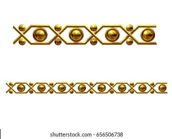 golden, ornamental segment for frieze, frame or border. 3d illustration, separated on white