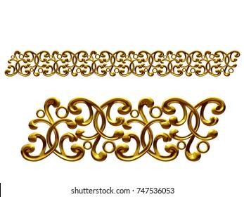 golden, ornamental segment, for frieze, frame or border. 3d illustration, separated on white