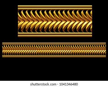 "golden, ornamental segment, ""frond"", straight version for frieze, frame or border. 3d illustration, separated on black"