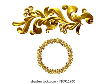 """golden ornamental segment, """"growth"""", round version for fourty five degree angle corners or frames. 3D illustration, separated on white"""