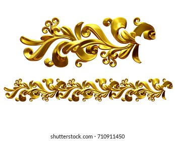 "golden, ornamental segment, ""growth"", straight version for frieze, frame or border. 3d illustration, separated on white,"