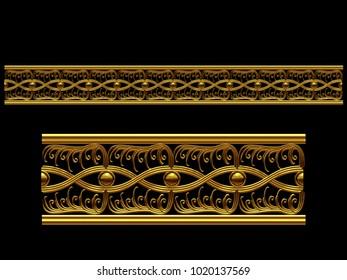"golden, ornamental segment, ""Introvert"", straight version for frieze, frame or border. 3d illustration, separated on black"