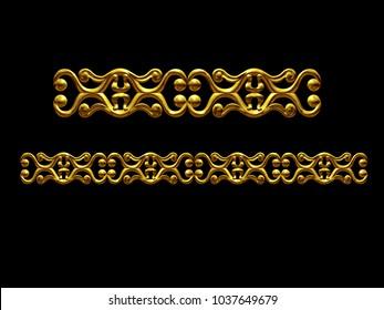 "golden, ornamental segment, ""mirrored"", straight version for frieze, frame or border. 3d illustration, separated on black"