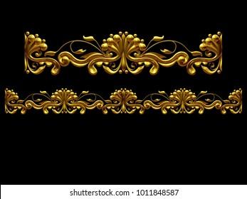 "golden, ornamental segment, ""one half"", straight version for frieze, frame or border. 3d illustration, separated on black"
