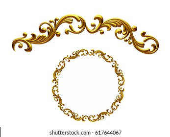 """golden ornamental segment, """"playful"""", round version for ninety degree angle corners or frames. 3D illustration, separated on white"""