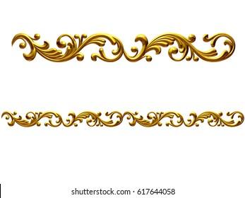 """golden, ornamental segment, """"playful"""", straight version for frieze, frame or border. 3d illustration, separated on black"""