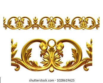 "golden, ornamental segment, ""scroll"", straight version for frieze, frame or border. 3d illustration, separated on white"