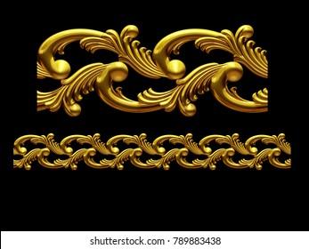 "golden, ornamental segment, ""sea"", straight version for frieze, frame or border. 3d illustration, separated on black"