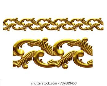 "golden, ornamental segment, ""sea"", straight version for frieze, frame or border. 3d illustration, separated on white"