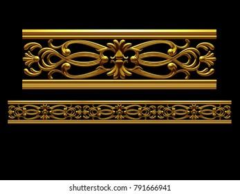 "golden, ornamental segment, ""stereo"", straight version for frieze, frame or border. 3d illustration, separated on black"