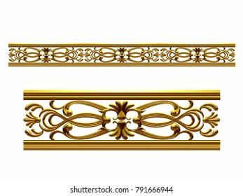 """golden, ornamental segment, """"stereo"""", straight version for frieze, frame or border. 3d illustration, separated on white"""
