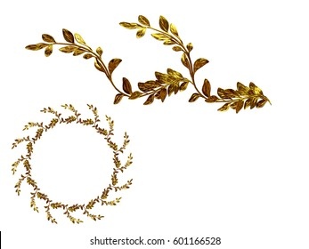 """golden ornamental segment, """"twig"""", round version, fourty-five degree angle, for corner or circle, 3d Illustration"""