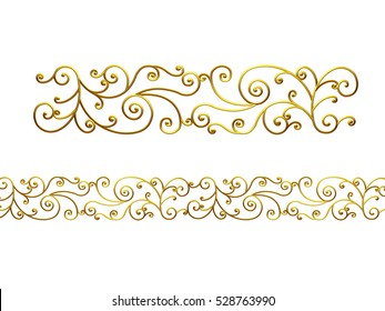"golden, ornamental segment, ""vibes"", straight version for frieze, surface or border. 3d illustration"