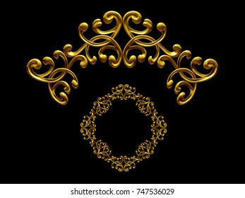 """golden ornamental segment, """"waft"""", round version for ninety degree angle corners or frames. 3D illustration, separated on black"""