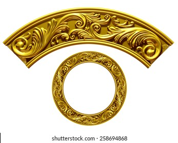 "golden ornamental segment, ""wave"", round version for ninety degree corner or circle, 3d illustration"