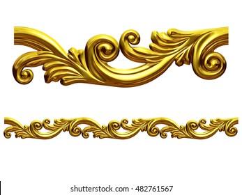 """golden, ornamental segment, """"waveform"""", straight version for frieze, frame or border, 3d Illustration"""