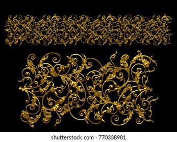"golden, ornamental segment, ""wild"", straight version for frieze, frame or border. 3d illustration, separated on black"