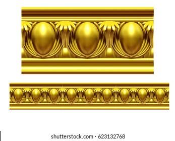 """golden, ornamental segment,""""egg"""", straight version for frieze, frame or border. 3d illustration, separated on white"""