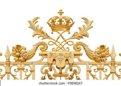Golden ornate gate of Chateau de Versailles isolated on white background. Paris, France, Europe.