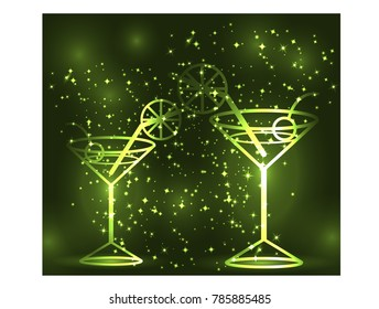 Golden outline of two glasses with a cocktail on a green background, disco, club, neon glow, couple