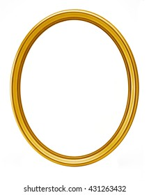 golden oval frame isolated