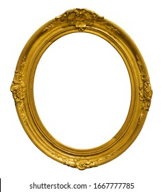 Golden oval frame for paintings, mirrors or photo isolated on white background. Design element with clipping path