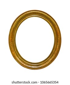 Golden oval picture frame isolated on white background