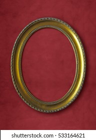 golden oval vintage frame isolated on red background with clipping paths