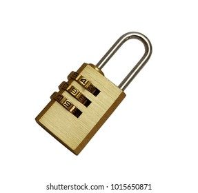 Golden padlock with pass-code,combination padlock isolated on white background,top view