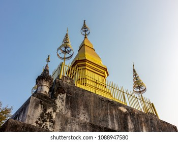 Golden pagoda called Pusi situates on the top of the mountain in Luang Prabang, Laos