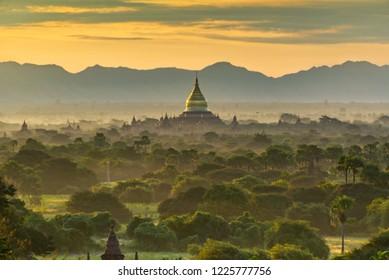 Golden Pagoda during golden morning moment at Old Bagan, Myanmar